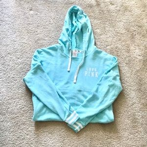 Pink Victoria's Secret blue and white hoodie!!